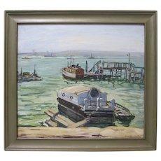 Jean Abendroth 1933 Reiffel Exhibition Original San Diego Harbor California Plein Air Impressionist Seascape