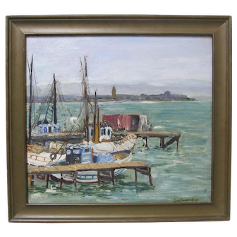 Charles Reiffel Student Original San Diego Harbor Seascape 1930s Oil Early California Plein Air Listed Artist