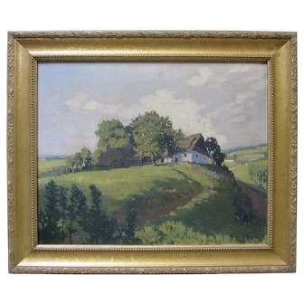 JAN HONSA Listed Czech Artist Policka Countryside Impressionist Oil 1919
