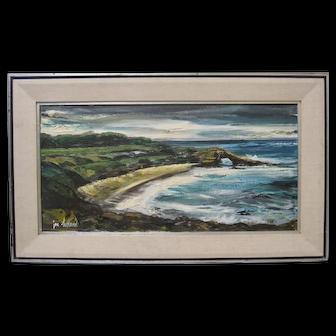 Vintage La Jolla Cove California Seascape 1960s Impressionist Painting JON HOLLAND