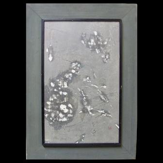 JOICHI HOSHI Signed Woodblock Woodcut Midcentury Green Japanese Abstract
