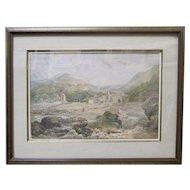 JOHN HENRY MOLE 19th Century Original Watercolor English Seaside Figures