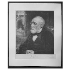 JOZEF ISRAELS Hand-Signed Photogravure Dutch Art 19th Century JAN VETH Portrait