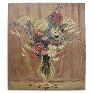 JOSEPH LANE Listed Texas Art 1930s Original Still Life Flowers Oil Painting