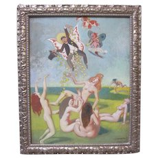 JULIUS MOESSEL Mid Century Surrealism Fairies Nudes Modernism Abstract Art