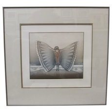 JEAN-MICHEL FOLON Winged Woman Signed Numbered Aquatint Colored Etching