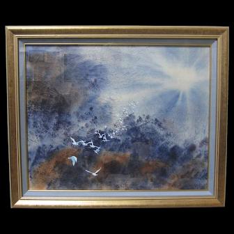 JOHN YATO Original Watercolor Painting Signed Abstract Birds Flying