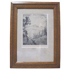 LYMAN BYXBE b1886 Original Hand-Signed Etching Long's Peak Colorado Mountains