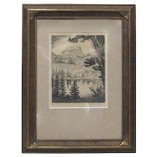 LYMAN BYXBE b1886 Original Hand-Signed Etching Hallett's Peak Bear Lake Colorado