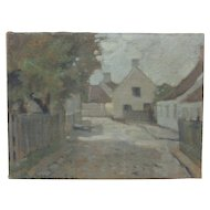 Early 20th C European Cityscape Vintage Signed Oil Painting