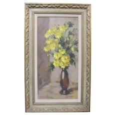 Lenore Sherman Original Oil Painting Yellow Mums Flowers Still Life Listed California Art