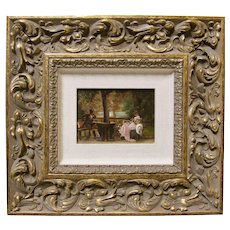 19th Century Victorian French Impressionist Salon Oil Painting Signed MARCUS STONE