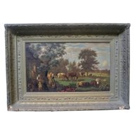 Early 19th Cow Painting American Bucolic Pastoral Asher Durand Style Hudson River School
