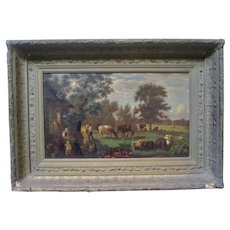 Hudson River School Early 19th C American Bucolic Pastoral Cow Painting