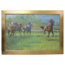 ROBERT BONFILS Large Horse Racing Jockey Signed Original Oil Painting Listed COA