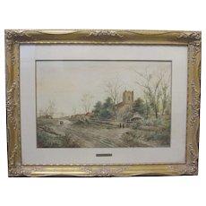 RICHARD PARKES BONINGTON Early 19th Century Original Watercolor English Church Country Village