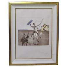 SALVADOR DALI Signed Etching Impossible Dream Don Quixote Dali Archives CERTIFIED
