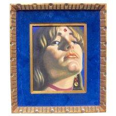Vintage Original Mid-Century Hippie Woman Oil Painting Listed CA Artist SALVADOR DE REGIL