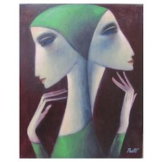 "SAMMY PASTO ""Two Sisters"" Original Painting Modernist Master Signed Listed COA"
