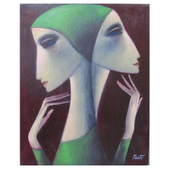 """SAMMY PASTO """"Two Sisters"""" Original Painting Modernist Master Signed Listed COA"""