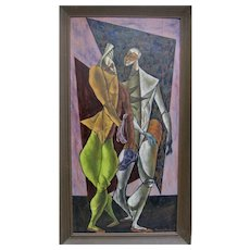 SAMMY PASTO Midcentury Cubist Masterpiece Two Harlequin Figures Signed Original