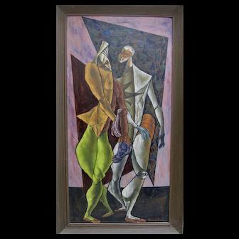 SAMMY PASTO Midcentury Cubist Masterpiece Two Harlequin Figures Signed Original