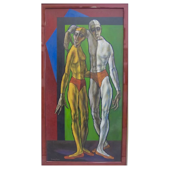 SAMMY PASTO Midcentury Cubist Masterpiece Two Harlequin Boys Signed Original COA