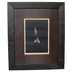 "TOMOE YOKOI Pencil Signed Original Mezzotint ""Fly and Leaf"" Japanese Modern Art"