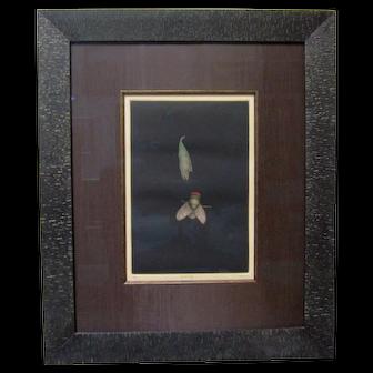 "TOMOE YOKOI Pencil Signed Original Mezzotint ""Fly and Leaf"" Japanese Modern Art"
