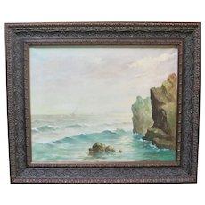 SIGNED Mid Century Original Oil Painting Primitive Seascape Sailboats