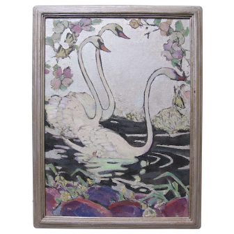 Art Deco Swans Oil Painting 1920s Philadelphia Art Signed