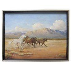 VALENTINE MORSE Vintage New Mexico Wild Horses Desert Mountain Landscape Signed