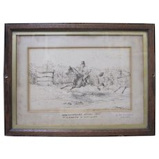 Antique Fox Hunt Drawing Signed Original 1866 Ink Worcestershire Hounds Horses