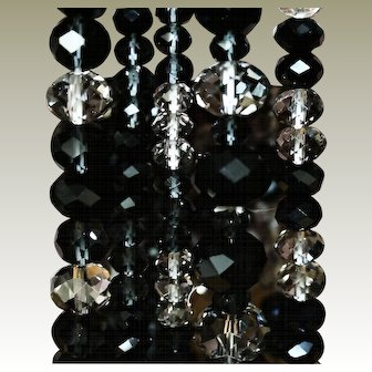 Classic Elegance ~ Set of 5 Vintage Black & Clear Glass Stacking Bracelets, FREE Shipping