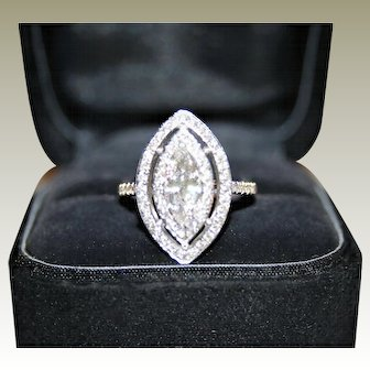"""Spectacular, Bright White GIA Certified """"D"""" Color, 1.59ctw Marquise Cut Double Diamond Halo Ring, 14K WG - FREE Shipping"""
