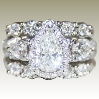 Phenomenal Icy White 2.04ctw Pear & Round Brilliant Cut 3 Piece Diamond Ring Set, FREE Shipping Included