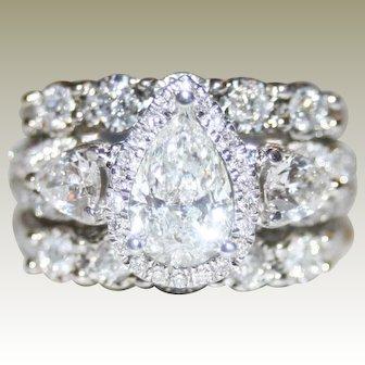 Phenomenal, Icy White 2.44ctw Pear & Round Brilliant Cut 3 Piece Diamond Ring Set, FREE Shipping