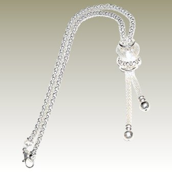 Striking .925 Sterling Silver, Knotted Rope Design Statement Necklace, FREE Shipping