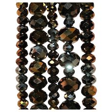 Chic & Stylish ~ Set of 5 Vintage Amber/Slate Colored Glass Stacking Bracelets, FREE Shipping