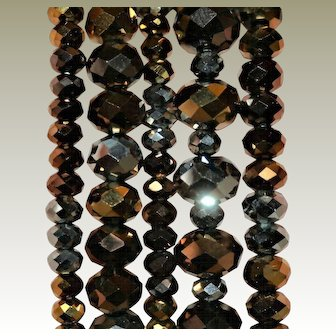 Chic & Stylish ~ Set of 5 Vintage Amber/Slate Colored Glass Stacking Bracelets, FREE Shipping