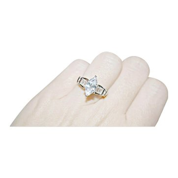 Sparkling 2.57ctw Marquise & Baguette Cut Statement, Anniversary, Right Hand Ring in Platinum & Sterling Silver - FREE INTERNATIONAL SHIPPING