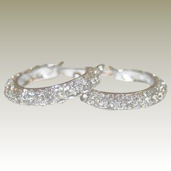 Icy White & Shimmering Vintage Rhinestone, Silver-tone Pierced Earrings - FREE International Shipping
