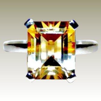 Timeless & Pristine, Vintage Citrine Ring in 10K White Gold ~ FREE International Shipping