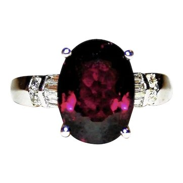 Opulent & Rich Rubellite Tourmaline Birthstone & Diamond Accented Right-hand, Anniversary/Statement Ring in 18K White Gold