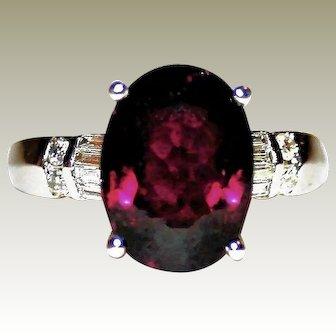 Opulent Rubellite Tourmaline October Birthstone & Diamond Accented Right-hand, Anniversary/Statement Ring in 18K White Gold