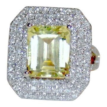 Regal & Majestic 4.85ctw Lemon Yellow Quartz & Triple Diamond Halo, Split Shank Ring ~ 14K White Gold