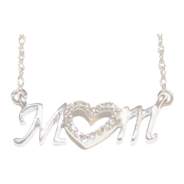 Sparkling Diamond Encrusted MOM Pendant & Necklace ~ .925 Sterling Silver, FREE International Shipping & Insurance