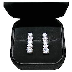 Ravishing Vintage Round Brilliant Cut Rhinestone Earrings in .925 Sterling Silver ~ FREE International Shipping