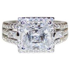 Rich & Ravishing Estate 2.85ctw, Princess Cut Halo Ring - Emerald & Round Brilliant Cut Accents - FREE International Shipping!