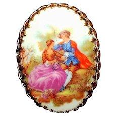 Forever a Classic - Winsome, Vintage Limoges France Porcelain Portrait Brooch Pin Signed